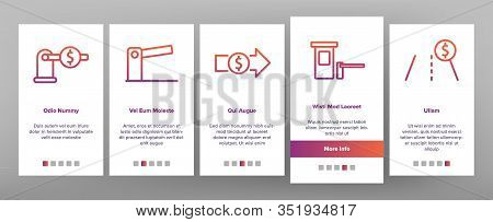 Toll Road Highway Onboarding Icons Set Vector. Toll Expressway With Barrier Gate, Electronic Board A