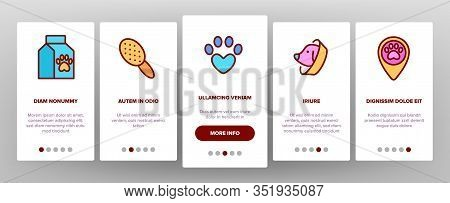 Pet Clinic Veterinary Onboarding Icons Set Vector. Dog Paw On Heart And Medical Cross, Birdcage And