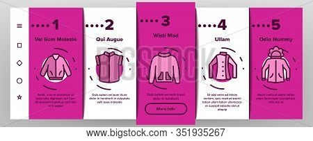 Jacket Fashion Clothes Onboarding Icons Set Vector. Man, Woman And Unisex Jacket, Fashionable Sweats