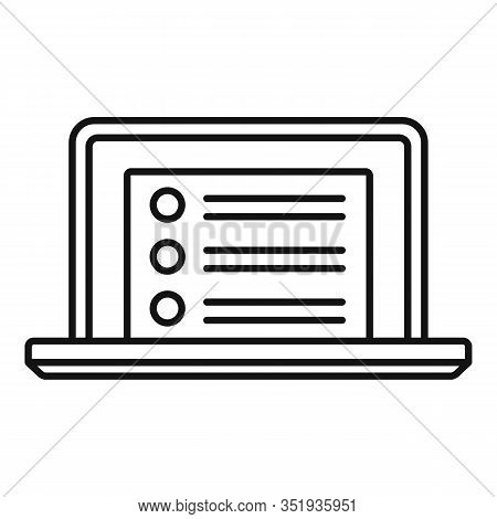 Laptop Inventory List Icon. Outline Laptop Inventory List Vector Icon For Web Design Isolated On Whi
