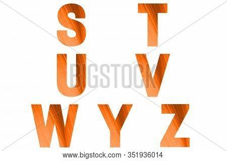 Turmeric Font Alphabet S, T, U, V, W, Y, Z Made Of Natural Bananas Leaf Background.