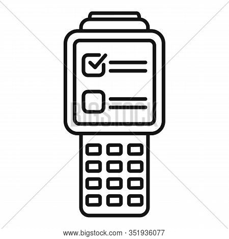 Inventory Check Device Icon. Outline Inventory Check Device Vector Icon For Web Design Isolated On W