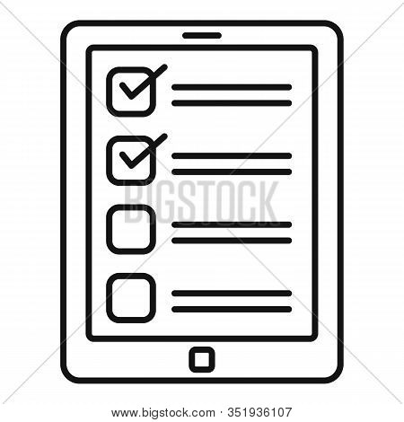 Inventory Tablet Icon. Outline Inventory Tablet Vector Icon For Web Design Isolated On White Backgro