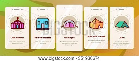 Tent Travel And Circus Onboarding Icons Set Vector. Touristic Camp Tent And Festival Carnival, Marqu