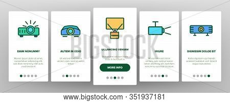 Projector Equipment Onboarding Icons Set Vector. Electronic Device Video Projector And Projection Sc