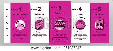 Pet Litter Accessory Onboarding Icons Set Vector. Cat In Pet Litter, Animal Footprint On Bag With Gr