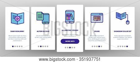 Ebook Electronic Tool Onboarding Icons Set Vector. Ebook Device For Reading, Phone Application, Inte