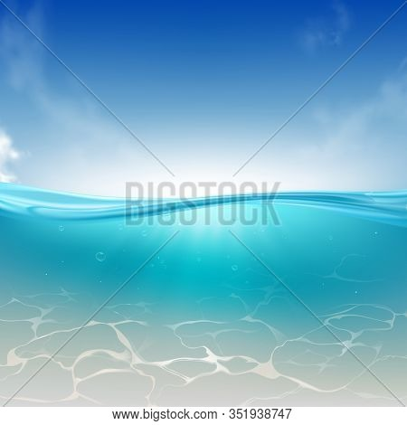 Oceanic Wave, Sea Water Column Realistic Background. Bright Sky, Sun Rays Spreading In Clear, Blue W