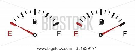 Fuel Indicator Meter Isolated On White Background. Fuel Gauge. The Concept Of A Fuel Indicator, Gas