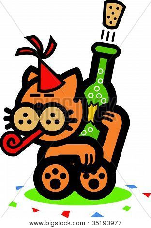 Cartoon Cat Opening Bottle Of Champagne On New Years Eve and Wearing a Party Hat poster