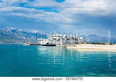 Supetar, Croatia - May 22, 2019: Jadrolinija Ferry Mf Tin Ujevic In Supetar Harbor Connects Croatian