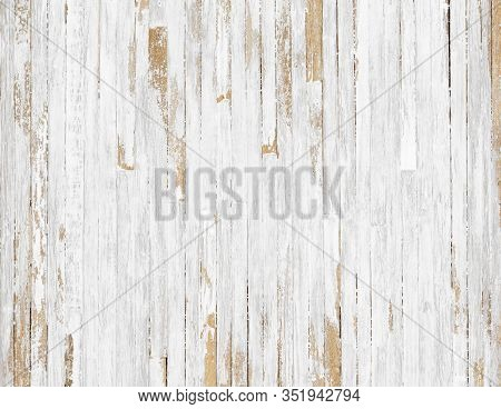 White Rustic Wood  Texture Background. Top View Background Of Light Rusty Wooden Planks. Grunge  Of