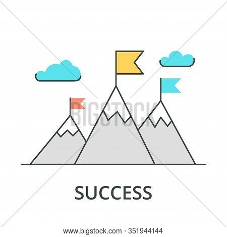 Vector Flat Flag On Mountain. Success Illustration. Goal Achievement. Business Concept. Winning Of C