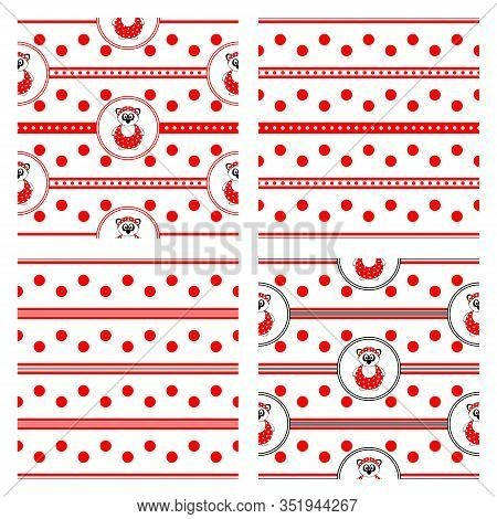 Set Of Four Seamless Vector Patterns With Panda Bear In Bathing Suit And Red Polka Dots And Stripes