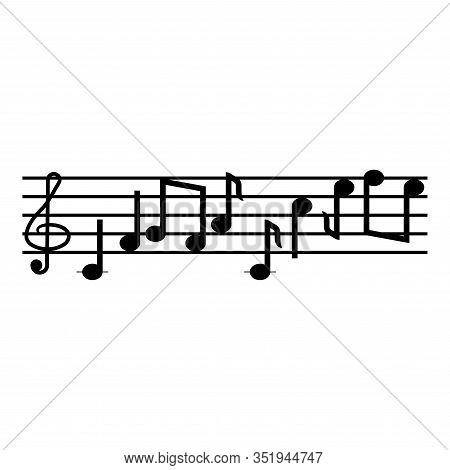 Note Fret Notes Icon Black Color Vector Illustration Flat Style Simple Image