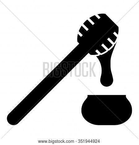 Honey Drips From Honey Spoon Into Pot Stick With Wooden And Jar Liquid Nectar Icon Black Color Vecto