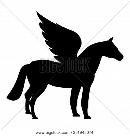 Pegasus Winged Horse Silhouette Mythical Creature Fabulous Animal Icon Black Color Vector Illustrati
