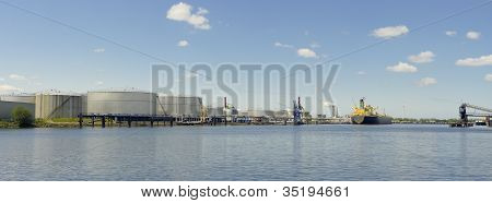 panoramic view of tanker and oil storage tanks in amsterdam harbor poster