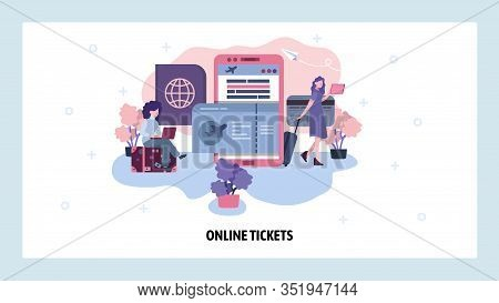 Airplane Ticket Online Booking Concept. Women Book Flight Using Mobile Phone. Buy And Keep Ticket On
