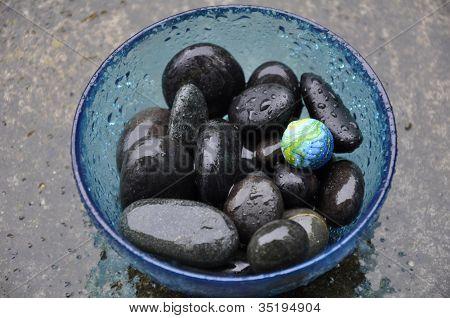 Black Stones Blue Bowl