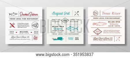 Local Fish And Seafood Party Or Restaurant Signs, Titles Or Menu Decoration Elements Set. Retro Typo