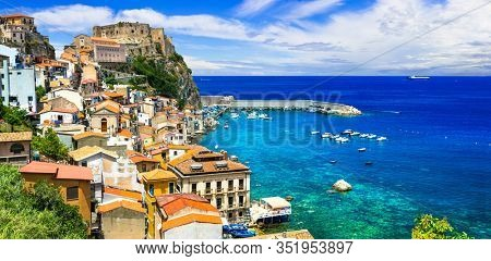 Travel and landmarks of southern Italy, Calabria. Medieval coastal town Scilla with impressive old castle
