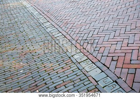 Utrecht, Netherlands - January 07, 2020. The Letters Of Utrecht Form An Endless Poem In The Stones O