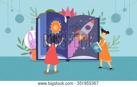 Two Young Children Reading A Space Fantasy Book With Rockets, Planets And Stars As Their Pet Dog Pee