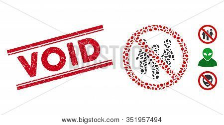 Rubber Red Stamp Seal With Void Phrase Between Double Parallel Lines, And Mosaic No Aliens Icon. Mos