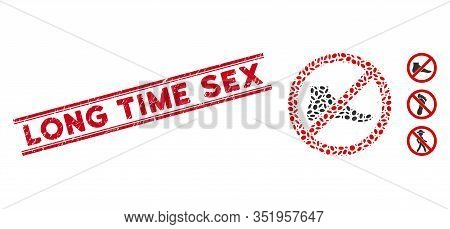 Distressed Red Stamp Seal With Long Time Sex Text Inside Double Parallel Lines, And Mosaic No Barefo