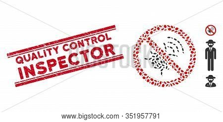 Rubber Red Stamp Seal With Quality Control Inspector Caption Between Double Parallel Lines, And Mosa
