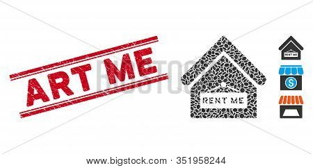Rubber Red Stamp Seal With Art Me Text Between Double Parallel Lines, And Mosaic Rent Me Icon. Mosai
