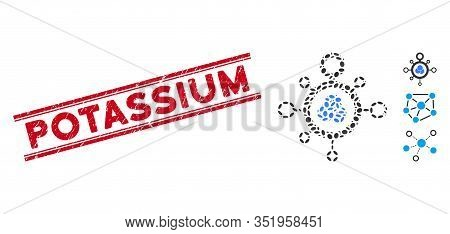 Rubber Red Stamp Seal With Potassium Text Between Double Parallel Lines, And Mosaic Molecule Icon. M
