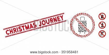 Rubber Red Stamp Seal With Christmas Journey Phrase Inside Double Parallel Lines, And Mosaic No Bagg