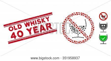 Distressed Red Stamp Seal With Old Whisky 40 Year Text Between Double Parallel Lines, And Collage No