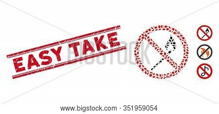 Rubber Red Stamp Seal With Easy Take Text Between Double Parallel Lines, And Mosaic No Ignite Match