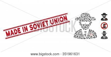 Rubber Red Stamp Seal With Made In Soviet Union Caption Between Double Parallel Lines, And Mosaic Kg