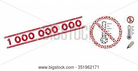Rubber Red Stamp Seal With 1 000 000 000 Text Inside Double Parallel Lines, And Collage No Temperatu