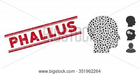 Grunge Red Stamp Watermark With Phallus Text Inside Double Parallel Lines, And Mosaic Human Head Ico