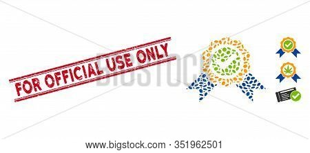 Grunge Red Stamp Seal With For Official Use Only Caption Inside Double Parallel Lines, And Mosaic Of