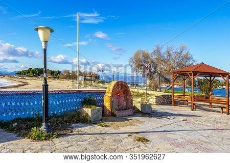 Fanari, Greece - November 29, 2019: Beautiful November Off-season Street View At The Port Of Fanari,