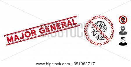 Corroded Red Stamp Watermark With Major General Caption Between Double Parallel Lines, And Mosaic No