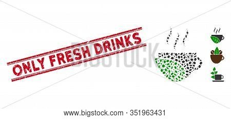 Corroded Red Stamp Seal With Only Fresh Drinks Caption Between Double Parallel Lines, And Mosaic Org