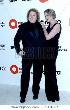 LOS ANGELES - FEB 9:  Fortune Feimster, Jacquelyn Smith at the 28th Elton John Aids Foundation Viewing Party at the West Hollywood Park on February 9, 2020 in West Hollywood, CA