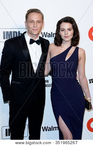 LOS ANGELES - FEB 9:  Matthias Schweighofer, Ruby O Fee at the 28th Elton John Aids Foundation Viewing Party at the West Hollywood Park on February 9, 2020 in West Hollywood, CA