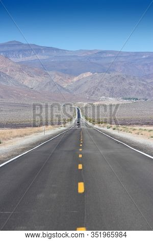 Death Valley Road - Empty Route In Mojave Desert, California. American Scenic Road.