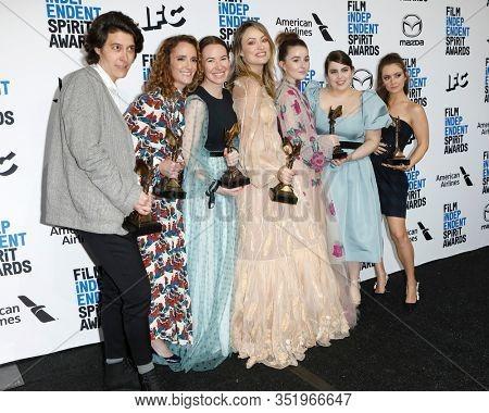 LOS ANGELES - FEB 8:  Chelsea Barnard, Susanna Fogel, Katie Silberman, Olivia Wilde, Kaitlyn Dever, Beanie Feldstein, Billie Lourd at the Spirit Awards at the Beach on February 8, 2020 in Santa Monica