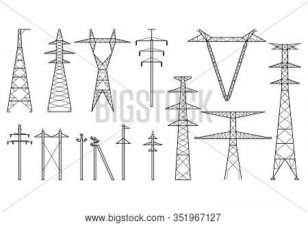 Tangent Towers, High Voltage Electric Pylons, Power Transmission Line, Types Of Electric Poles And M