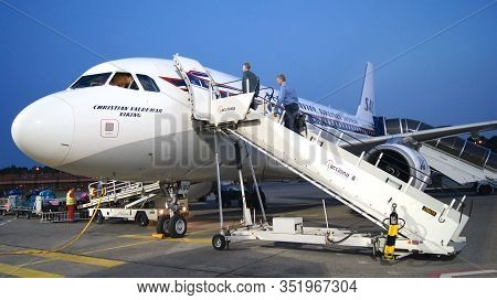 Berlin, Germany - Jul 03rd, 2015: Commercial Passenger Aircraft, Ready For Boarding On The Apron Of
