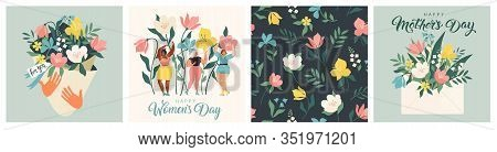 Happy Womens Day March 8 Cute Cards And Posters For The Spring Holiday. Vector Illustration Of A Dat